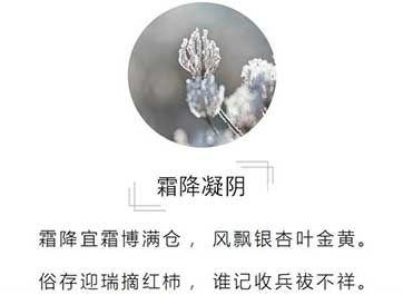"""霜降字面意思似乎是霜是从天上降下来的。与此有关,古诗中出现霜时,常常也是用""""降""""的。如汉代张衡《"""
